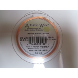 Artistic Wire  0.51 mm  (24 Gauge)  Natural Copper  -  Spool of  18,29 m ( 20yds)