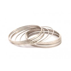 Brass Circle  Link   50 mm , Antique  Silver Tone  - 1 pc