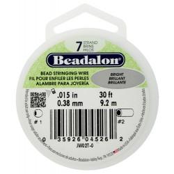 Bead Stringing Wire  Beadalon 7 Strands  0,38 mm Bright  -  Spool of   9,2 m