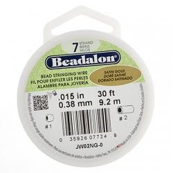 Bead Stringing Wire  Beadalon 7 Strands  0,38 mm Satin Gold   -  Spool of   9,2 m
