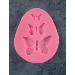 3 Butterflies  Silicone Mould   7,5 x 6 x 0,7   cm  - 1 pc