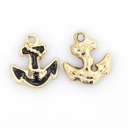 Anchor Charm  14 x 12 x 2,5  mm   Enamel Black/Gold -  1  pcs