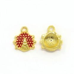Ladybug Charm  12 x 11 x 3  mm   Enamel Red/Gold -  1  pc