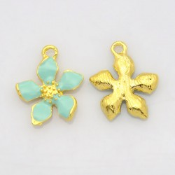 Flower  Charm  20 x 17 x 3  mm   Enamel Pale Turquoise/Gold -  1  pc