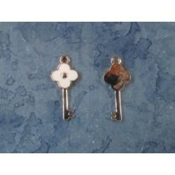 Key  Charm    31 x 14 x 2  mm   Enamel White/Silver-Gold -  1  pc
