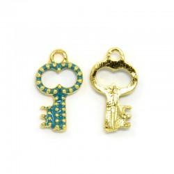 Key  Charm    16 x 9 x 2  mm   Enamel  Blue-Green /Gold -  2  pcs