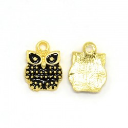 Owl  Charm    12 x 10 x 2  mm   Enamel Black /Gold -  2  pcs