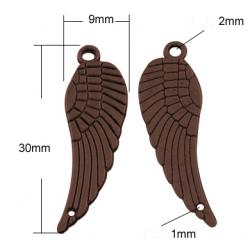 Wing  Pendant  30x9x1 mm,  Copper  Color  - 4  pcs