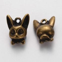 Dog Charm  12x10x6  mm,  Antique Bronze  Color  - 5  pcs