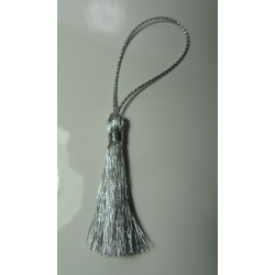 Acrylic Tassel Pendant  40 mm  Metallic Silver    - 1 pc