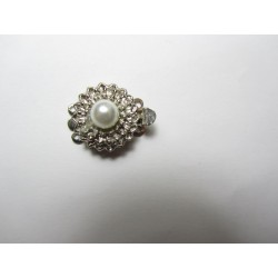 Flower with Pearl  Box  Clasp mm, Nickel Color Plated - 1 pc