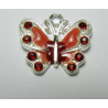 Enamel Butterfly  Pendant with Rhinestones  22 x 21 mm  Red   -  1  p