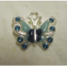 Enamel Butterfly  Pendant with Rhinestones  22 x 21 mm  Blue  -  1  p