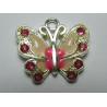 Enamel Butterfly  Pendant with Rhinestones  22 x 21 mm  Pink  -  1  p