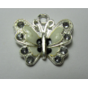 Enamel Butterfly  Pendant with Rhinestones  22 x 21 mm  Ivory/Black -  1  p