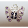 Enamel Butterfly  Pendant with Rhinestones  22 x 21 mm  Lilac  -  1  p
