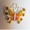 Enamel Butterfly  Pendant with Rhinestones  22 x 21 mm  Yellow/Orange -  1  p