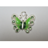 Enamel Butterfly  Pendant with Rhinestones  22 x 21 mm  Green -  1  p