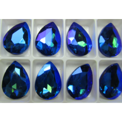 Teardrop Glass  Cabochon  13 x 18 mm  Green/Blue Zircon    AB  - 1 pc