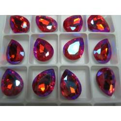 Teardrop Glass  Cabochon  13 x 18 mm Orange  AB  - 1 pc