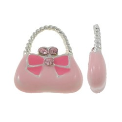 Enamel Handbag  Pendant with Ribbon 12 x 14 x 3  mm  Pink/Silver -  1  pc