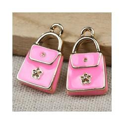 Enamel  Rectangular Handbag  Pendant   21 x 12 x 3   mm  Pink/Silver -  1  pc