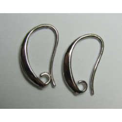 Brass Hook Earwire Design Style  18x12  mm, Nickel Color Plated  - 2 pcs
