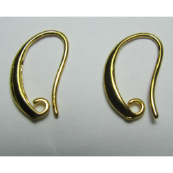Brass Hook Earwire Design Style  18x12  mm, Gold Color Plated  - 2 pcs