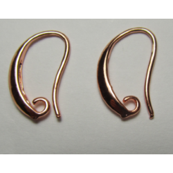Brass Hook Earwire Design Style  18x12  mm, Rose Gold Color Plated  - 2 pcs