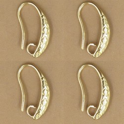 Brass Hook Earwire Design Style  16x13  mm, Gold Color Plated  - 2 pcs