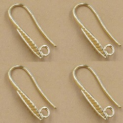 Brass Hook Earwire Leaf   10 x 20  mm, Gold Color Plated  - 2 pcs