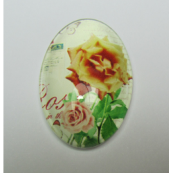 Oval  Glass Cabochon 20 x 30 mm  Roses  Pattern - 1 pc