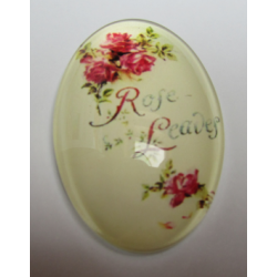 """Oval  Glass Cabochon 20 x 30 mm   """"Rose Leaves""""  Writing - 1 pc"""