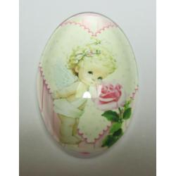 Oval  Glass Cabochon 20 x 30 mm   Baby Pattern -  1 pc