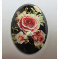 Oval  Glass Cabochon 20 x 30 mm  Rose Pattern - 1 pc