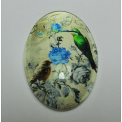 Oval  Glass Cabochon 20 x 30 mm  Flower and Bird  Pattern - 1 pc