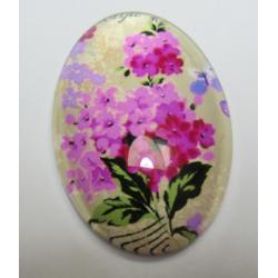 Oval  Glass Cabochon 20 x 30 mm  Flower  Pattern - 1 pc