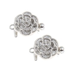 Brass Flower Box  Clasp 15x11x7   mm, Platinum Color Plated - 1 pc