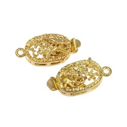 Brass Hollow  Box  Clasp 9x20x7   mm, Gold Color Plated - 1 pc