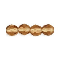 Fire Polished Faceted Round Beads  6 mm Smoky Topaz - 25 pcs