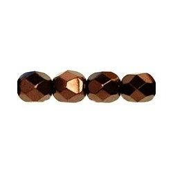 Fire Polished Faceted Round Beads  6 mm Bronze  - 25 pcs