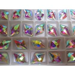 Lemon  Glass  Cabochon 12x19 mm   Crystal  AB  - 1 pc