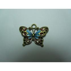 Enamel Butterfly  Pendant   25 x 19 mm Blue/ Red/Bronze   -  1  pc