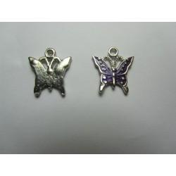 Enamel Butterfly  Pendant   17 x 15,2 mm Purple/Silver   -  1  pc