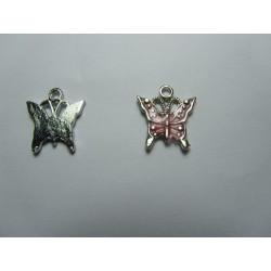 Enamel Butterfly  Pendant   17 x 15,2 mm Pink/Silver   -  1  pc