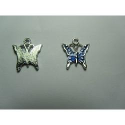 Enamel Butterfly  Pendant   17 x 15,2 mm Blue/Silver   -  1  pc