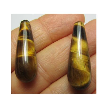 Goccia Occhio di Tigre 30x10 mm  -  2 pz