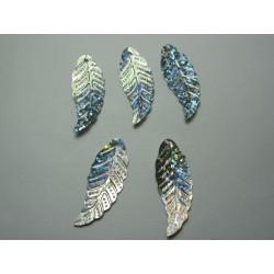 Acrylic Leaves  29x11 mm  Glittery Silver -  5 pcs
