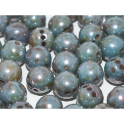 RounTrio® Beads 6 mm Chalk White Baby Blue Luster - 25 pz