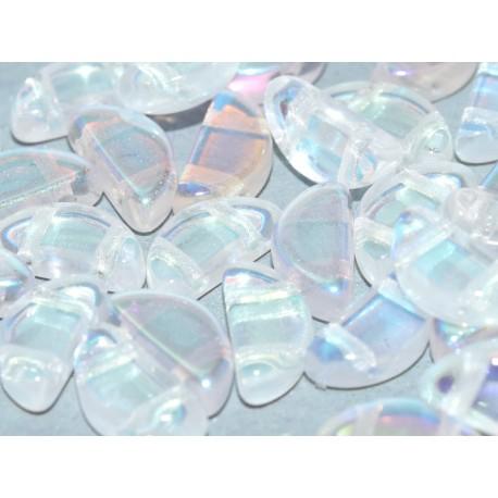 Semi Circle Beads  5x10 mm  Crystal AB - 10 Pcs